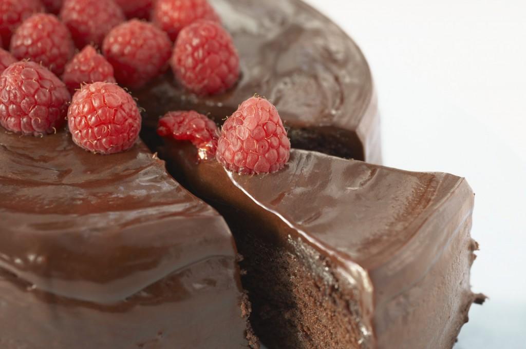 Chocolate Cake Slice with Raspberries